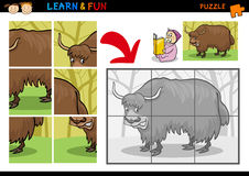 Cartoon yak puzzle game. Cartoon Illustration of Education Puzzle Game for Preschool Children with Funny Yak Bull Animal Stock Images