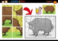 Cartoon yak puzzle game Stock Images