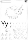 Cartoon yak and yacht. Alphabet tracing worksheet: writing A-Z a Stock Photography