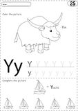 Cartoon yak and yacht. Alphabet tracing worksheet: writing A-Z a. Cartoon yak and yacht. Alphabet tracing worksheet: writing A-Z, coloring book and educational Stock Photography