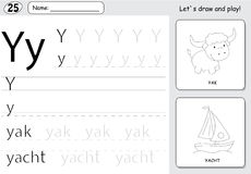 Cartoon yak and yacht. Alphabet tracing worksheet: writing A-Z a. Cartoon yak and yacht. Alphabet tracing worksheet: writing A-Z, coloring book and educational Royalty Free Stock Images