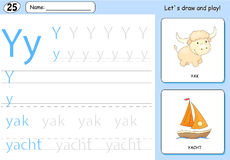 Cartoon yak and yacht. Alphabet tracing worksheet. Writing A-Z, coloring book and educational game for kids Royalty Free Stock Photos
