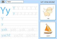 Cartoon yak and yacht. Alphabet tracing worksheet Royalty Free Stock Photos