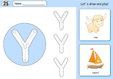 Cartoon yak and yacht. Alphabet tracing worksheet: writing A-Z. Cartoon yak and yacht. Alphabet tracing worksheet: writing A-Z, coloring book and educational Royalty Free Stock Photo