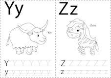 Cartoon yak and zebra. Alphabet tracing worksheet: writing A-Z a Stock Photos