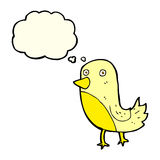 Cartoon yellow bird with thought bubble Royalty Free Stock Photo