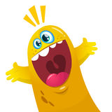 Cartoon yellow blob monster. Halloween vector illustration of excited monster. Royalty Free Stock Photo