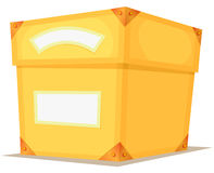 Cartoon Yellow Box. Illustration of a cartoon yellow gift box for birthdays present, with blank signs and white banner royalty free illustration