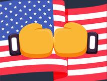 Cartoon yellow boxing glove icon, front.Vector illustration of fight of USA. American flag background and box fight concept. Boxer of United States win Royalty Free Stock Image