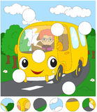Cartoon yellow bus in the forest road. Complete the puzzle and f Stock Image