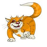 Cartoon yellow cat walks Royalty Free Stock Photo