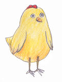 Cartoon yellow chicken  on white background. Colored pencils drawing Royalty Free Stock Image