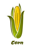 Cartoon yellow corn vegetable on the cob Royalty Free Stock Photos