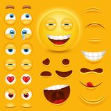 Cartoon yellow 3d smiley face vector character creation constructor. Emoji with emotions, eyes and mouthes set. Vector image stock illustration