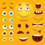 Cartoon yellow 3d smiley face vector character creation constructor. Emoji with emotions, eyes and mouthes set. Vector image royalty free illustration