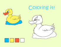 Cartoon yellow duck coloring picture Royalty Free Stock Photos