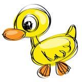 Naif drawing baby duck. Cartoon yellow duck in a naif drawing style Royalty Free Stock Images