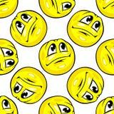 Cartoon yellow emoticons seamless pattern Stock Photos