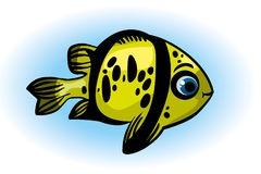 Cartoon yellow fish. Funny cartoon yellow fish with big eyes on a blue background Royalty Free Stock Photos