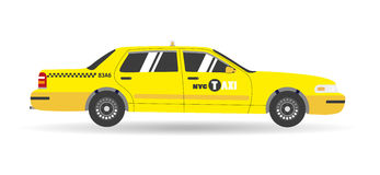 Cartoon yellow flat taxi icon. Isolated objects business cab car Royalty Free Stock Photography