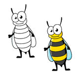 Cartoon yellow jacket wasp insect character Stock Images