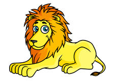 Cartoon yellow lion lies on front paws Royalty Free Stock Photo
