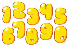 Cartoon yellow numbers Stock Photos