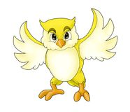 Cartoon yellow owl Stock Image
