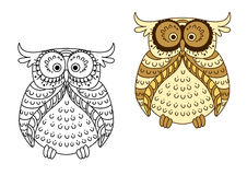 Cartoon yellow owl with brown striped wings Stock Images