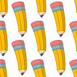 Cartoon Yellow Pencil Seamless Pattern Royalty Free Stock Photos