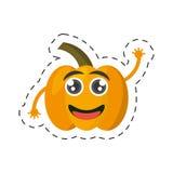 Cartoon yellow pepper happy vegetable cut line Royalty Free Stock Photo