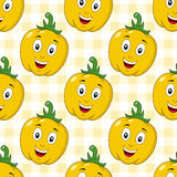 Cartoon Yellow Pepper Seamless Pattern Stock Images
