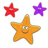 Cartoon yellow, red and violet starfish characters Stock Photo