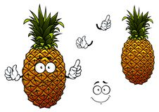 Cartoon yellow ripe pineapple fruit Stock Images