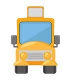 Cartoon yellow school bus transport pupils Royalty Free Stock Images