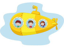 Cartoon yellow submarine Royalty Free Stock Image