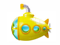 Cartoon yellow submarine side. View isolated on white. 3d illustration royalty free illustration