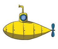 Cartoon yellow submarine. Vector hand drawn Stock Image