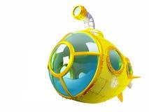 Cartoon yellow submarine Stock Photos