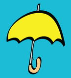 Cartoon yellow umbrella icon Stock Photo
