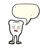 Cartoon yellowing  tooth with speech bubble Stock Images