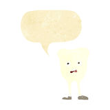 Cartoon yellowing  tooth with speech bubble Royalty Free Stock Photography
