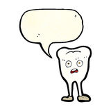Cartoon yellowing  tooth with speech bubble Royalty Free Stock Image