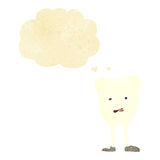 Cartoon yellowing  tooth with thought bubble Stock Photography