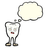 Cartoon yellowing  tooth with thought bubble Royalty Free Stock Photography