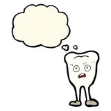 Cartoon yellowing  tooth with thought bubble Royalty Free Stock Photo