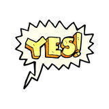 Cartoon yes symbol with speech bubble Royalty Free Stock Images