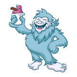 Cartoon yeti eating ice cream vector illustration