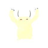 Cartoon yeti monster. Retro cartoon with texture. Isolated on White Royalty Free Stock Photography