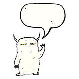 Cartoon yeti with speech bubble Royalty Free Stock Photography